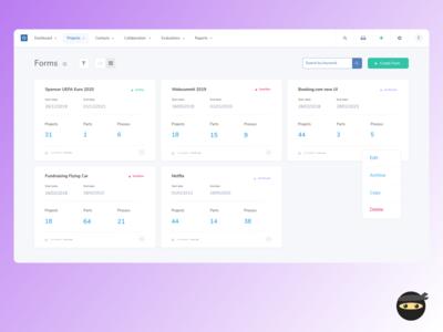 Project card view - SaaS web platform