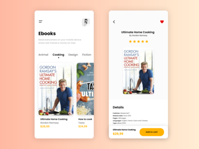 Buy & Share Book Concept - Mobile Application