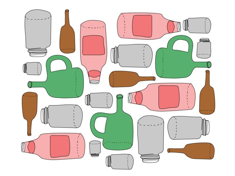 Glass bottles pattern