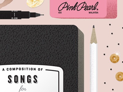 Songs for Looming Deadlines album cover vector stationery pink