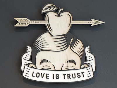 """Love is Trust"", 2014. love trust arrow william tell art plywood"