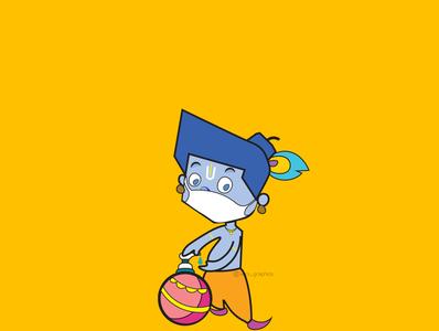 Krishna Janmashtami Post creative happy poster mask staysafe design graphics janmashtami illustration koni