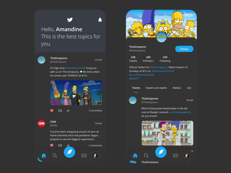 Twitter App Redesign (Dark)