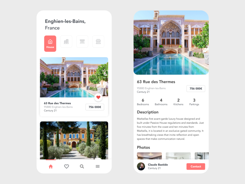 Real Estate airbnbclone airbnb real estate logo design adobe xd beautiful app design red villa house real estate branding real estate agency real estate agent realestate real estate minimal clean app