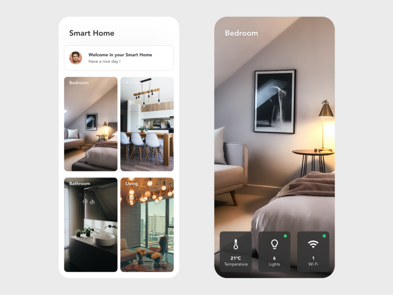 Smart Home wifi kitchen lights house automation bedroom google home smart home smarthome smart ui app design xd design minimal prototype beautiful clean adobe xd app
