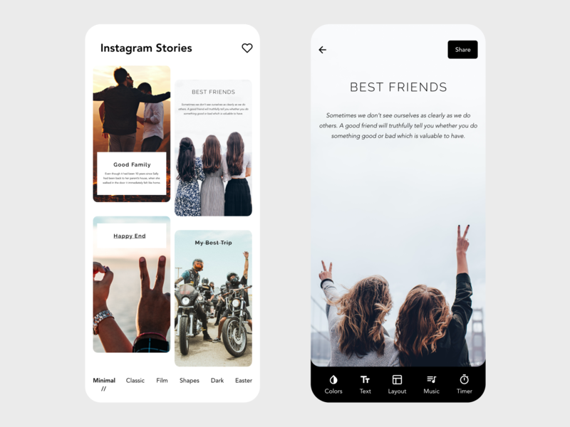 Instagram Stories social app social media social stories story instagram banner instagram template instagram stories instagram post instagram xd ui app design design minimal beautiful prototype clean adobe xd app