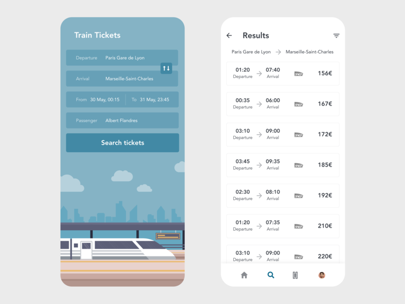 Train Tickets railroad illustration vector redesign ticket booking ticket app tickets ticket booking app booking ui app design xd design minimal beautiful prototype clean adobe xd app