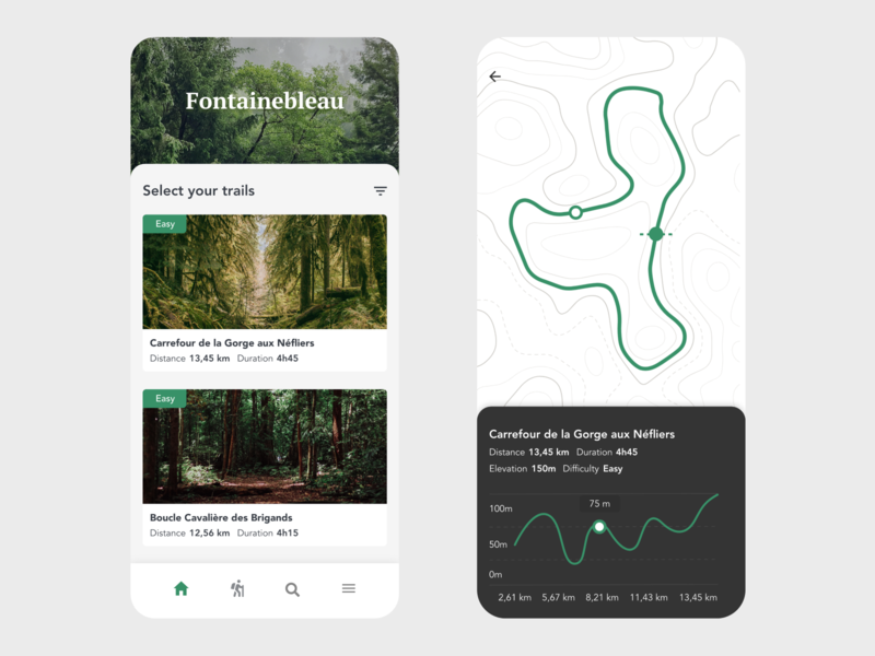 Fontainebleau Forest Trails green map trail trail running trails hike hiker hiking forest nature ui free app design design minimal beautiful prototype clean adobe xd app