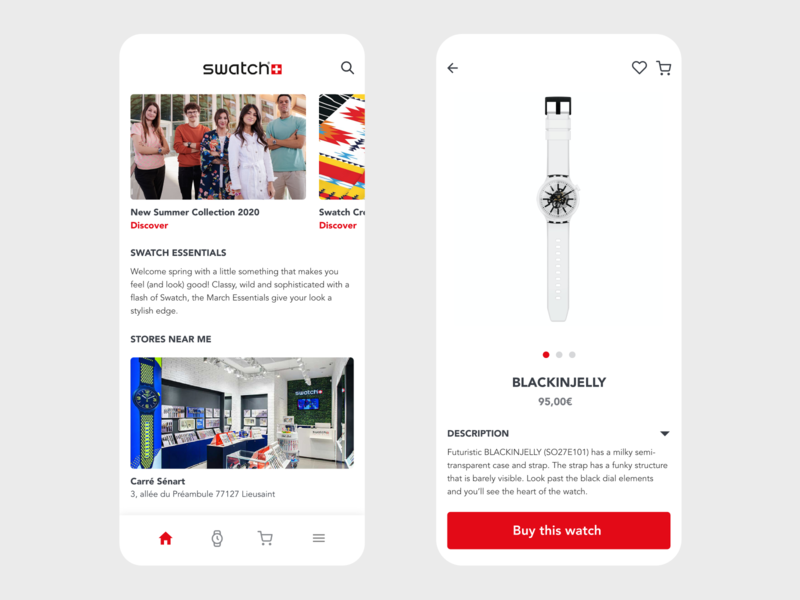 Swatch App Redesign shop swatch watch redesign shopping shopping cart shopping app shopify vector app design design minimal beautiful prototype clean adobe xd app ecommerce app ecommerce shop ecommerce