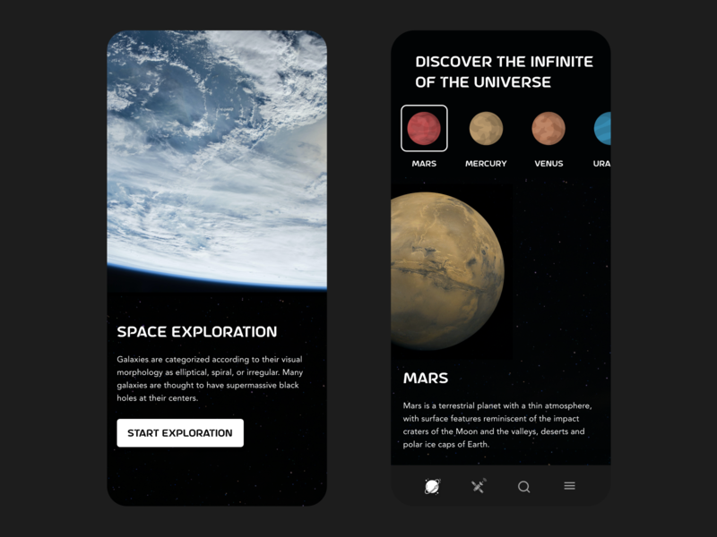 Space Exploration moon sky space galaxy universe planet earth planets planet mars dark free ui app design design minimal beautiful prototype clean adobe xd app