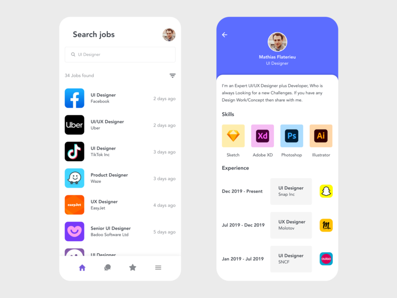 Job Board job application job listing job board jobs job experience skills resume template resume cv resume ui app design redesign free design minimal adobe xd prototype clean app