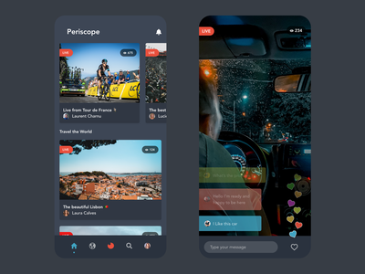 Periscope App Redesign social media design livestream live chat live social social media dark video twitter periscope design beautiful free ui redesign app design app clean prototype minimal