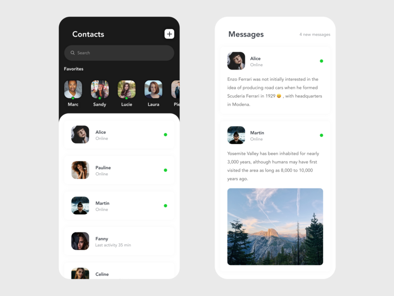 Contacts & Messages xd contact page contact form contact chatting messenger message app chat app messaging messages redesign free ui app design design beautiful minimal prototype clean app