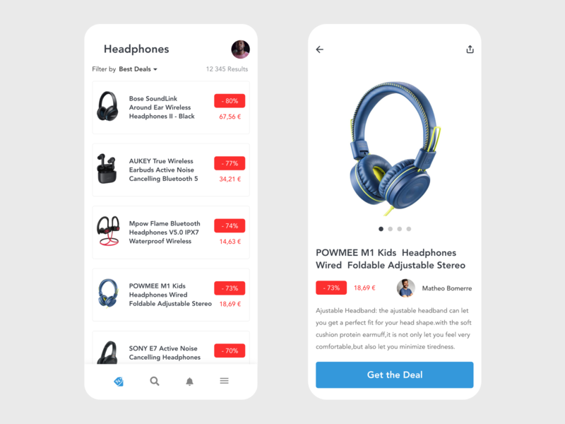 Deals shop deals deal shopping app shopping discount card disount headphones headphone shopify vector redesign free ui app design design minimal prototype clean app