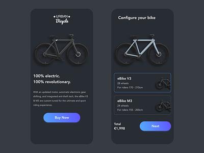 eBike bike ride buy biker bikes bike ebike dark app dark mode dark ui dark minimal xd redesign free ui app design design prototype clean app