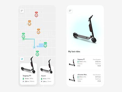 eScooter Map Location maps map location scooter escooter location tracker location app rentals rental app rental vector redesign free xd ui app design beautiful prototype clean app