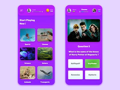 Quiz Game game art gamer games game design game dailyui quizzes quizz quiz app quiz ui vector redesign free adobe xd beautiful app design prototype clean app