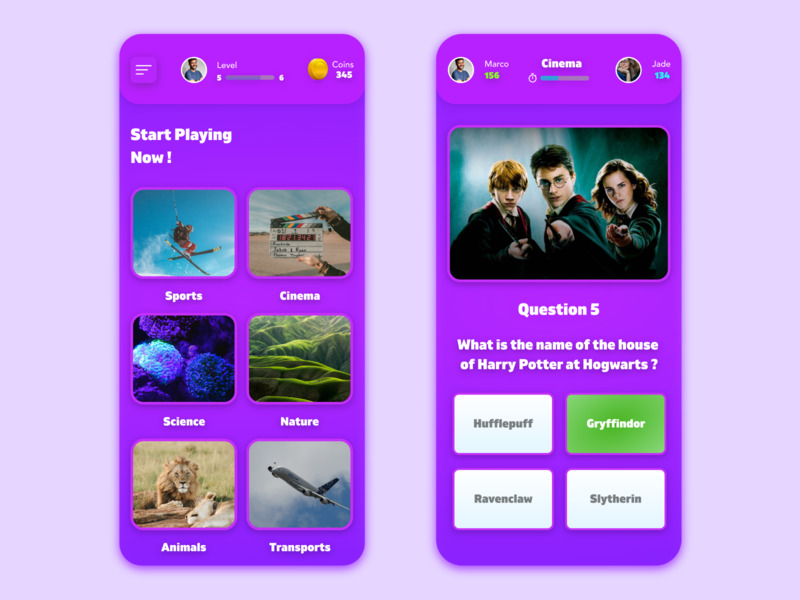 Quiz Game game art gamer games game design game dailyui quizzes quizz quiz app quiz ui vector redesign free adobe xd beautiful app design prototype clean app