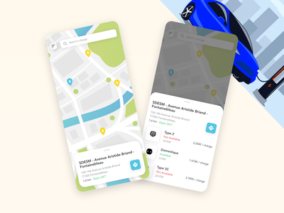 Charge Map charging station charging car app tesla electric vehicle electric map rechargeable batteries recharge battery ui free resource redesign free adobe xd app design prototype minimal clean app