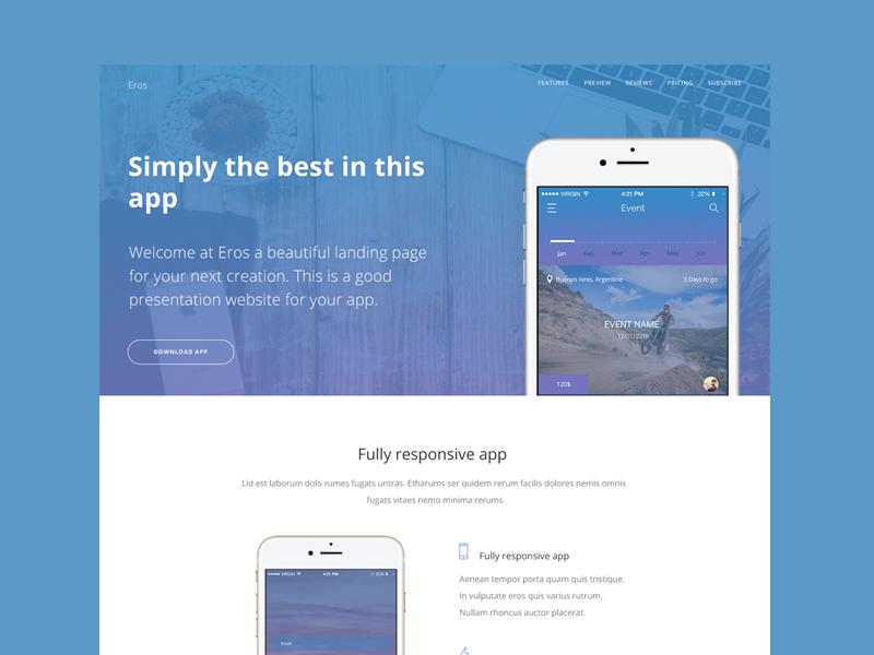 Eros App Landing Page Free PSD presentation blue psd page landing app free