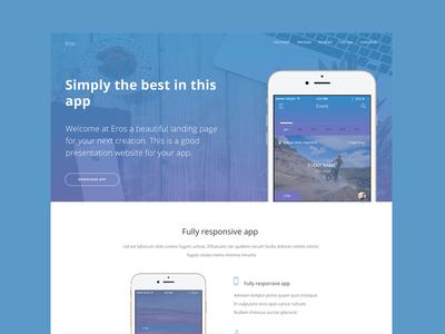 Eros App Landing Page Free PSD