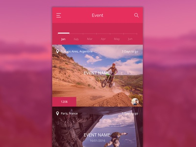Blevent – Event App beautiful chat map calendar design clean minimal red psd template free app