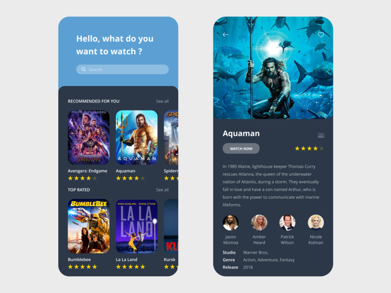 Movies App free ui kit aquaman vector xd prototype minimal free template free resource design clean streaming imdb netflix streaming app beautiful app  design app adobe xd adobe