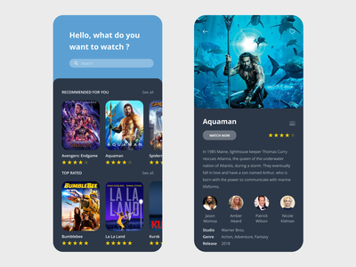Movies App free ui kit aquaman vector xd prototype minimal free template free resource design clean streaming imdb netflix streaming app beautiful app  design app adobe xd adobe