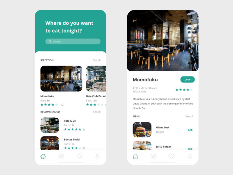 Restaurant App xd vector prototype free ui kit free template free resource design clean app design app adobe xd adobe restaurant app restaurant