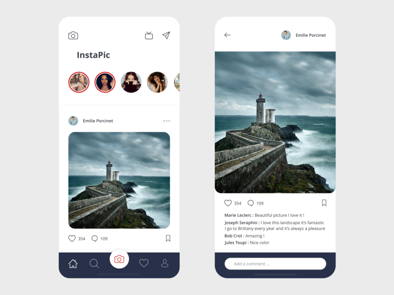 Instapic free ui beautiful minimal concept redesign instagram xd vector prototype free ui kit free template free resource design clean app design app adobe xd adobe