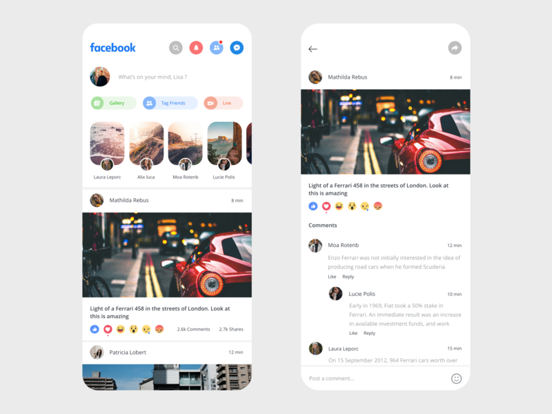 Facebook App Redesign app adobe xd clean prototype xd adobe beautiful design minimal ui app design facebook redesign social social app uidesign redesign concept messenger layout design typogaphy