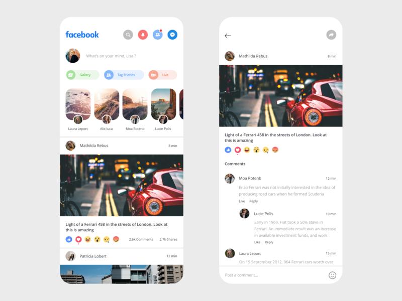 Facebook App Redesign app adobe xd clean prototype xd adobe beautiful design minimal ui app design facebook redesign social social app uidesign redesign concept messenger layout design typogaphy