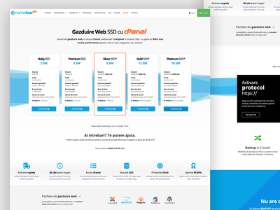 Shared Web Hosting page design for NAMEBOX.RO