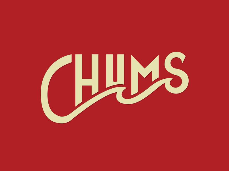 Chums Type Badge fishing river surf badge design outdoors design branding