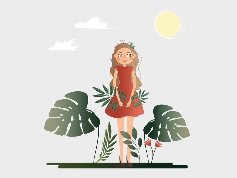 Hello Summer! :) flat girl nature animation logo illustration design