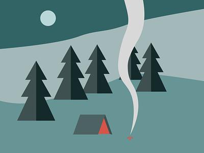 Flat design - Camp & fire night fire camping digital design illustration campfire night flat design tent camp
