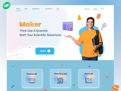 Maker is an experiment simulator for students product design web design lab similator experiment landing page uiux student site graphic design ui