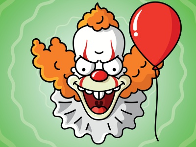 Krusty meets Pennywise mash-up evil funny design character design cartoon vector illustration krusty it film pennywise clown simpsons krusty the clown