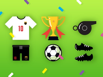 Sporting achievement icons available to download symbol football shirt whistle football boots boots sports kit awards trophy achievements flat icons sporting icons sports soccer football graphic design vector cartoon design illustration