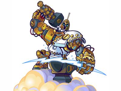 Greek God Robot Making Lighting On Cloud Illustration