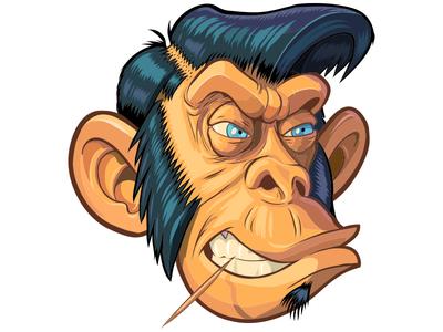 Hipster or Maybe a Greaser Monkey Head Vector Illustration wacom apple adobe retro cartoon drawing illustration vector head monkey greaser hipster