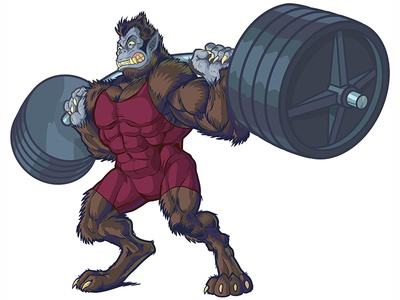 Weightlifting Beast Man Mascot Vector Illustration comics sports cartoon drawing anthropomorphic illustration vector mascot man beast weightlifting