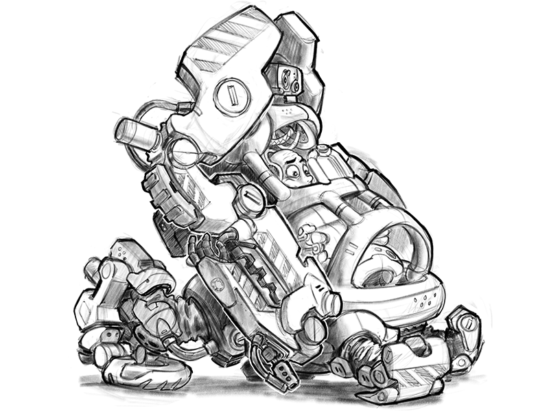 Roly Poly Forklift Robot Mecha Design Sketch visual development science fiction cartoon concept procreate ipad design vehicle drawing illustration mecha robot