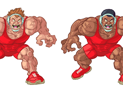 Caucasian and African American Wrestler Vector Mascots african american character artwork muscular athlete sports illustration caucasian drawing cartoon vector wrestler