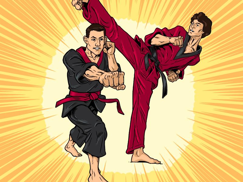 Carolinian Winter 2018 Cover Illustration - Karate Kids martial arts color cartoon comics cover magazine drawing photoshop karate illustration award addy