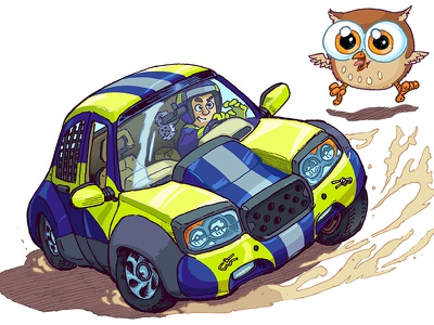 Cartoon Rally Car and Cute Owl Sketchbook Page manga anime owl inktober vector race rally sketchbook drawing car cartoon illustration