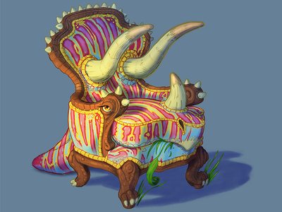 Trichairatops whimsical fantasy cartoon procreate ipad drawing illustration furniture chair dinosaur triceratops