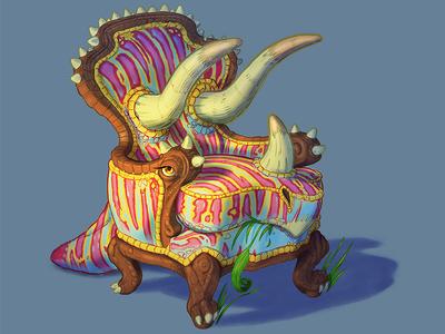 Trichairatops whimsical fantasy cartoon procreate ipad drawing illustration furniture chair dinosaur triceratops
