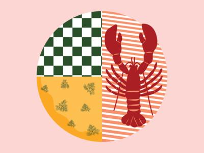 Lobster collage art lobster poster design kitchen art design adobe illustrator illustration