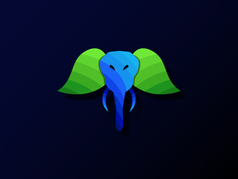 elephant head with leaf ears art illustrator animation design colorful app animals logo illustration icon